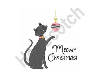 Meowy Christmas - Machine Embroidery Design 4 X 4 Hoop, Cat, Xmas, Pet