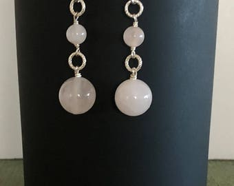 Natural Rose Quartz and Sterling Silver Earrings