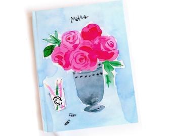 Bound Journal: Roses Desk Vignette {Illustrated Journal, Illustrated Notebook, Pretty Journal}