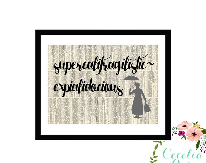 supercalifragilisticexpialidocious Mary Poppins Disney Typography Farmhouse Vintage Book Page Art Framed Print