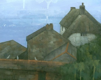 Cadgwith Rooftops, Cornwall, Original Acrylic on Canvas Painting