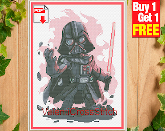 Darth Vader cross stitch pattern, star wars cross stitch patterns, pdf, counted cross stitch, #SP 246