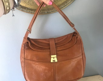 Vintage old leather bag, brown, with adjustable strap with snap, genuine leather, faded, soft leather, shoulder bag, bohemian style, hippie