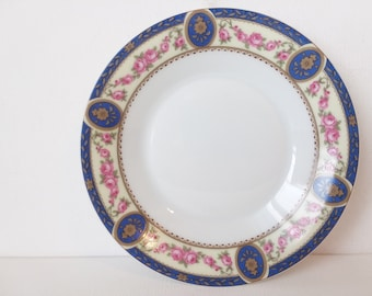 Trocadero by Ch Field Haviland- Limoges France -Teacup Coffee Cup Saucer-Pink Roses Greenleaves Blue