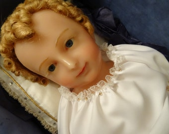 Vintage Religious Wax Jesus Christ Child Infant Sculpture Doll