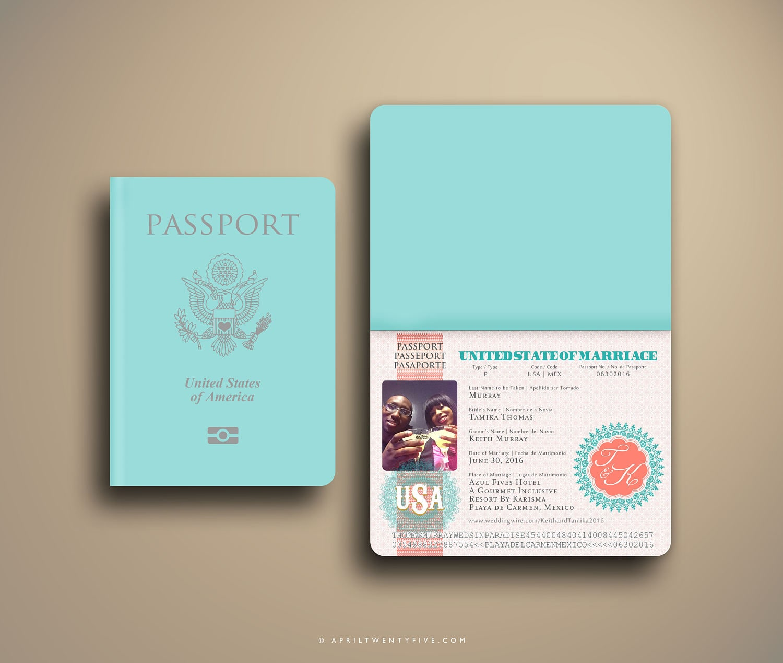 TAMIKA Passport and Boarding Pass Destination Wedding