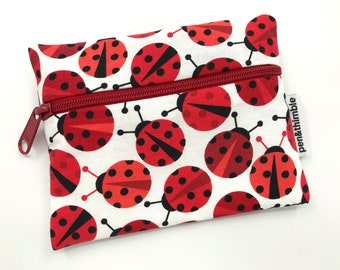 School Lunch Bags (Ladybug Gifts, Zipper Pouch For Kids, Ladybird Bags, Washable Baggie, Reusable Snack Sack, Small Wet Bag For Mom)
