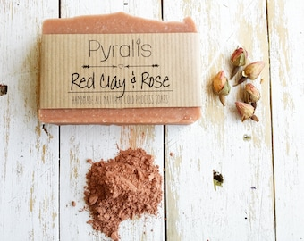 Red Clay Soap, Rose Soap, Patchouli Soap, Cinnamon Soap, Organic Soap, Cold Process Soap, Vegan Soap, Essential Oil Soap, Palm Free Soap