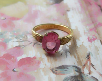 Pink Stone Ring, Rolled Gold Palladium 10k Ring with Hearts