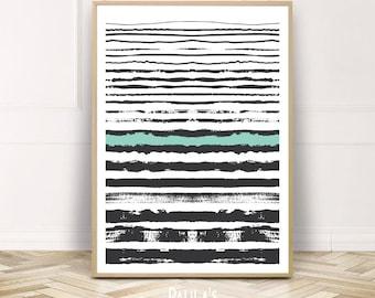Brush Stroke Wall Art,Modern Art Brush Strokes,Printable Brush Stroke Poster,Digital Download Prints,Green Black Lines Instant Download