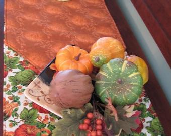 """90"""" 108"""" 120"""" Pumpkin Gourd Table Runner Reversible Pumpkin Table Runner Thanksgiving Table Runner Autumn Table Runner Fall Table Runner"""