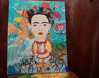 Acrylic On Canvas. Frida Chaos. 11x14