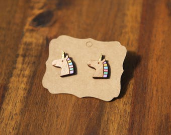 Unicorn earrings, laser cut wood