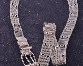 Mesh belt silver metal