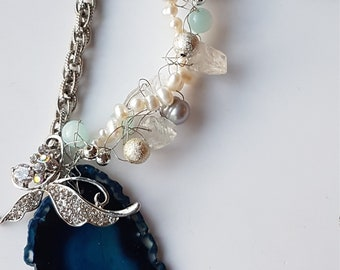 Rhinestone Butterfly on Blue Agate Natural Stone One of a kind Necklace, Fresh Water Pearl Necklace
