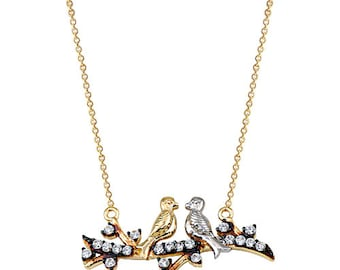 Lovebirds 14k Solid Gold Necklace Best Price