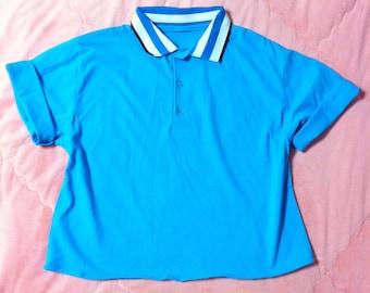 90s Vintage Turquoise Blue Polo Shirt, 90s Vintage Blue Polo Shirt, Vintage Polo Shirt, Blue Polo Shirt, Vintage Blue Polo