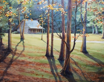 mountain cabin landscape with autumn trees, watercolor print