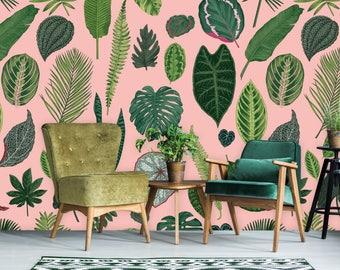 Foliage on Pink Wallpaper