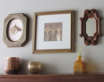 country chic - home decor - Girls with Grit - vintage western art - 3 piece wall art