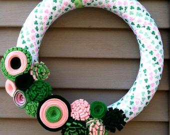 St. Patricks Day Wreath - Green & Pink Shamrock Ribbon Wreath - Pink Shamrock Wreath - St. Patty's Wreath - Ribbon Wreath - clover wreath