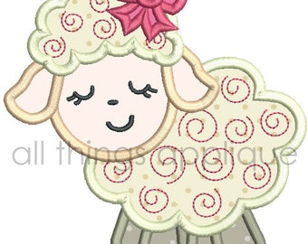 Easter Applique Design - Swirly Lamb Applique Design - 4 Sizes - Machine Embroidery Designs - INSTANT DOWNLOAD