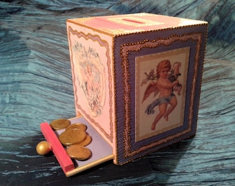 Small piggy bank pink wooden Angel