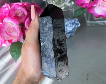 Large Morion Quartz  Large RARE  Smoky Quartz Healing Crystals and Stones / Crystal Wand