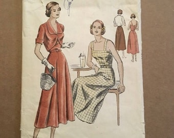 "Vintage 1940's Vogue Pattern 6467 One Piece Dress and Bolero ""Easy-to-Make""  Size 16 Bust 34 Hip 37"