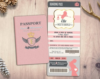 Passport baby shower etsy passport and ticket baby shower invitation coed baby shower invitation travel baby shower invitation digital files only filmwisefo