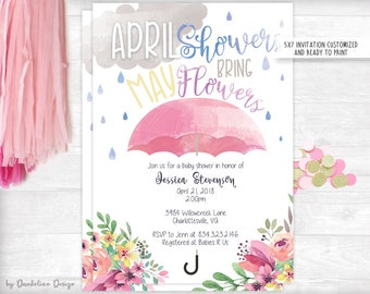 April Showers Bring May Flowers Watercolor Baby Shower Invitation
