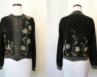 """Beautiful  1950s Hand Beaded Lames wool and Angora  Sweater w/ Scalloped Hem by """"Miss Boutique"""" Chic Rockabilly VLV Sweater Girl Size-Large"""
