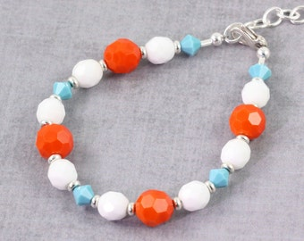 Summer Fashion Bracelet Orange Turquoise White Bright Fun Beach Jewelry Tangerine Tango