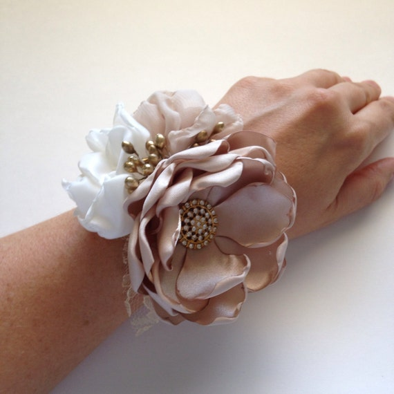 Gold Wrist Bracelet: Wrist Corsage Champagne Ivory And Gold Fabric Flower