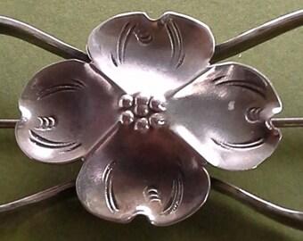 Vintage silver hammered handmade dogwood brooch