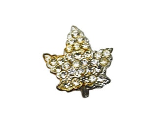 Vintage Signed Coco Brooch, Silver Maple Leaf Brooch with White Rhinestones, Silver Tone Brooch, Vintage Pin