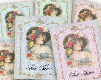 Vintage Tea Party tag, Instant Download, Printable Tea Party favors, Cards, Scrapbook supplies, Tea party decor, digital collage,