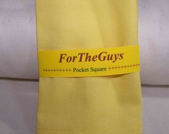 "Accessories - pocket Squares - Yellow Pocket Square - Kona Cotton Pocket Square in Yellow- Men's Pocket Square 9"" X 9"""