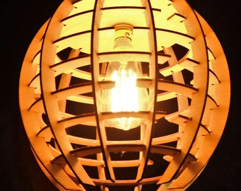 Laser cut wooden lampshade