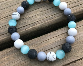 Free shipping! | Oil diffuser bracelet | essential oil bracelet | gray lava bead bracelet | grey lava beads