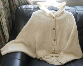 Super soft furry knitted hooded cardigan/cape