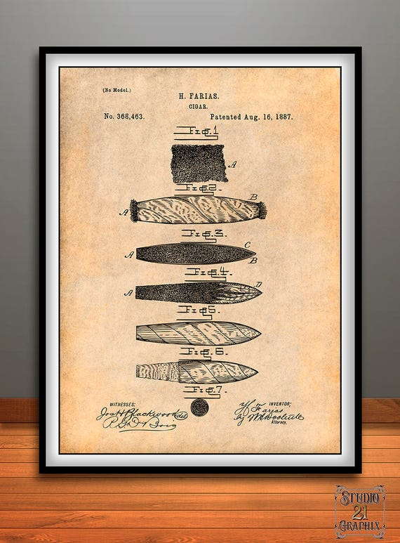 1887 Farias Cigar Patent Print Tobacco Smokers Gift Smoke