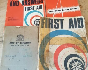 Vintage medical collectibles  - collection of medical reference books - first aid- St Johns Ambulance- vintage books- old books x 4