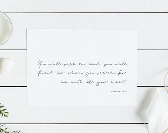 You Will Seek Me And You Will Find Me Print, Printable, Christian Wall Art, Digital, Bible Calligraphy, PDF, Instant Download