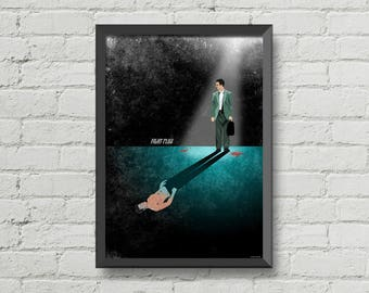 Fight club print,movie poster,Gift idea,man cave wall art,brad pitt,dark art,inspiration poster,birthday gift