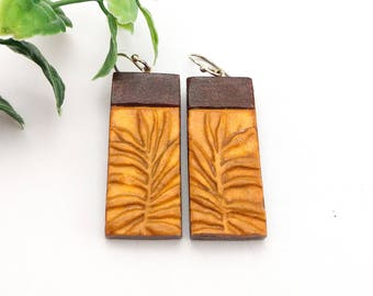 Sustainable jewelry, Nature inspired jewelry, Painted earrings, Stamped earrings, Rectangle earrings, Mustard and brown earrings, Clay gift