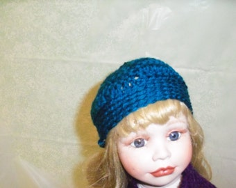18 inch Doll Hat, Turquoise Doll Hat, Fits American Girl Doll Clothes, Doll Accessories Crochet 18 Inch Doll Hat