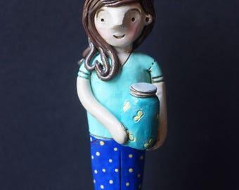 Summer Firefly Girl Folk Art sculpture Doll One of a Kind with Jar of Lightning Bugs
