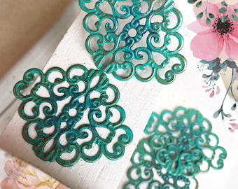 Handmade Verdigris Patina Floral Filigree Connector Wrap Setting (18001) - 37x30mm