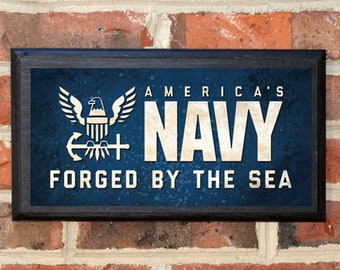 US Navy Midshipmen Forged by the Sea Wall Art Sign Plaque Gift Present Home Decor Vintage Style USNA Sailor Naval Academy Football Classic